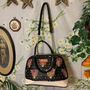 Betsey Johnson black leopard flower crown purse